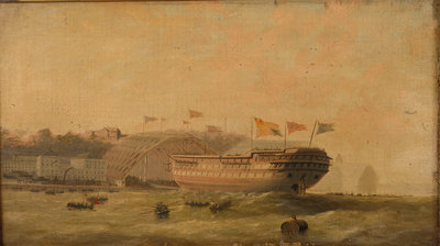 Launch of a ship at Plymouth by unknown - print
