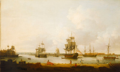 Ships off the gun wharf at Portsmouth, 1770 by Dominic Serres the Elder - print