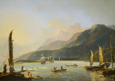 A view of Maitavie Bay, on the island of Otaheite (Tahiti) by William Hodges - print