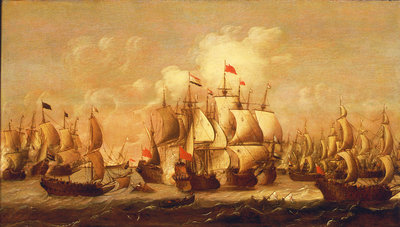A battle of the First Dutch War, 1653 by Pieter Coopse - print