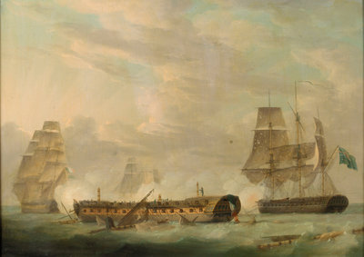 Action at sea: a French frigate completely dismasted by Robert Dodd - print