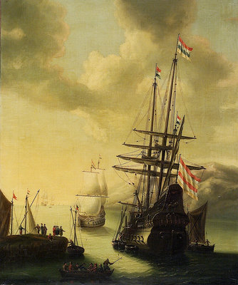 Dutch men-of-war in harbour by J. Browne - print