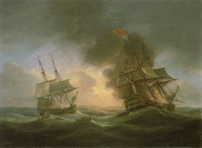 Loss of the East Indiaman 'Kent': catching fire, 1 March 1825 by Thomas Luny - print