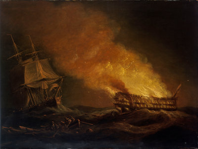 Loss of the East Indiaman 'Kent': the burning hulk, 1 March 1825 by Thomas Luny - print
