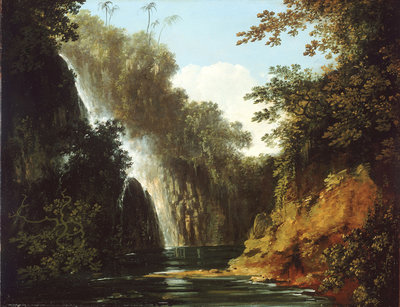 A waterfall in Tahiti by William Hodges - print
