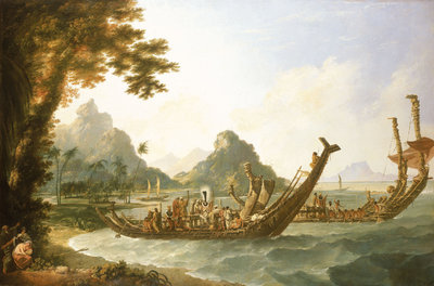 The war boats of the island of Otaheite (Tahiti) and the Society Isles, with a view of part of the harbour of Ohaneneno, in the island of Ulieta, one of the Society iIslands by William Hodges - print