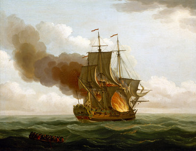 The Luxborough galley on fire, 25 June 1727 by John Cleveley, the Elder - print