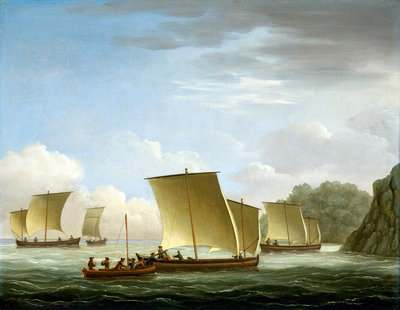 The yawl of the Luxborough galley arriving in Newfoundland, 7 July 1727 by John Cleveley, the Elder - print