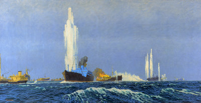The 'Jervis Bay' action, 5 November 1940 by Charles Pears - print
