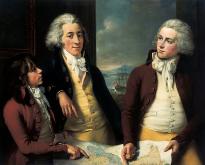 The Money brothers: William (1769-1834), James (1772-1833) and Robert Taylor (1775-1803) by John Francis Rigaud - print