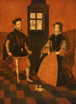 Mary I of England (1516-58) and Philip II of Spain (1527-98) by English School - print