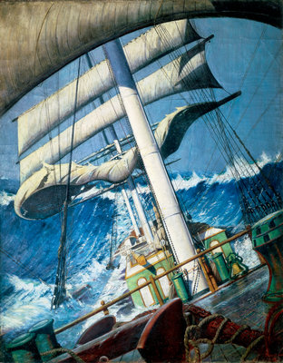 The deck of the barque 'Endymion' in a heavy sea by John Everett - print