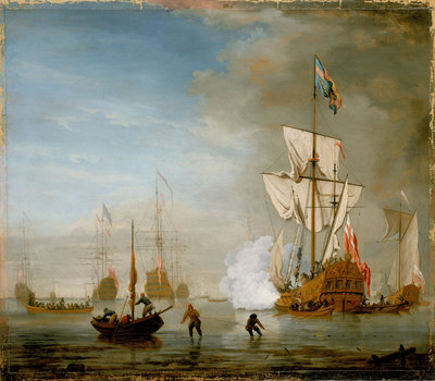 Calm: an English ketch rigged yacht, thought to be the Isabella, with other ships and vessels near the shore by Peter Monamy - print