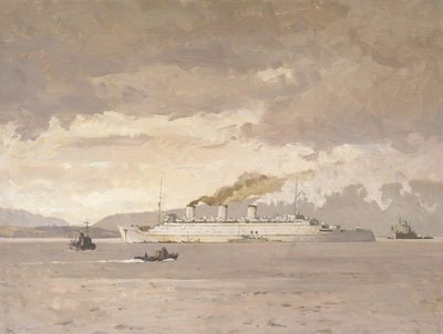 The passenger liner 'Queen Mary' raising steam by Norman Wilkinson - print
