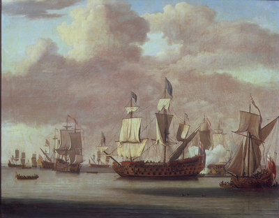 Calm: HMS 'Royal James', a royal yacht and other shipping by Willem van de Velde the Elder - print
