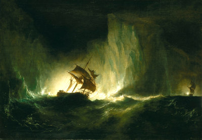 HMS 'Erebus' passing through the chain of bergs, 1842 by Richard Brydges Beechey - print