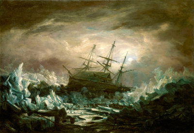 Perilous position of HMS 'Terror', Captain Back, in the arctic regions in the summer of 1837 by William Smyth - print