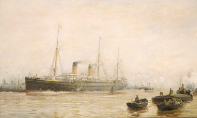 The 'Teutonic' leaving Liverpool by William Lionel Wyllie - print