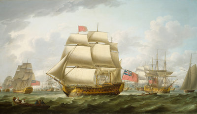 The 'Victory' sailing from Spithead by Robert Dodd - print