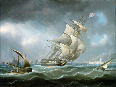 HMS 'Warrior' off the mouth of the river Tagus by Thomas Buttersworth - print