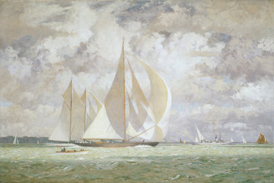 HMY 'Britannia' racing the yacht 'Westward' in the Solent, 1935 by Norman Wilkinson - print