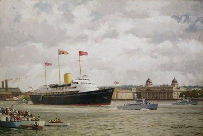 HMY 'Britannia' arriving at Greenwich, 15 May 1954 Fine Art Print by Norman Wilkinson