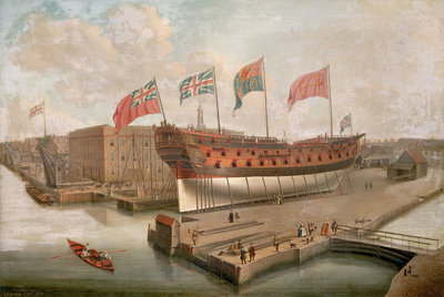 HMS 'Buckingham' on the stocks at Deptford by John Cleveley, the Elder - print