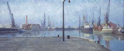 Docks at Goole, early morning, 1971 by Richard Ernst Eurich - print
