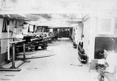 Photograph of gun deck on HMS 'Severn' by unknown - print