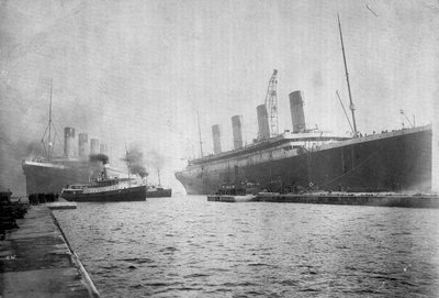 Passenger liner 'Titanic' (Br, 1912) Oceanic Steam Nav Co Ltd, (Ismay Imrie & Co Ltd, managers) (White Star Line): at Belfast with the 'Olympic'; bow just out of picture by unknown - print