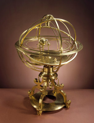 Orrery in the form of Renaissance Ptolemaic armillary sphere by Richard Glynne - print