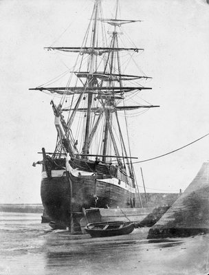 Brig and barque at low tide, Swansea by unknown - print