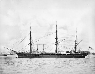 Photograph of the 'Volage' with her funnel down by unknown - print