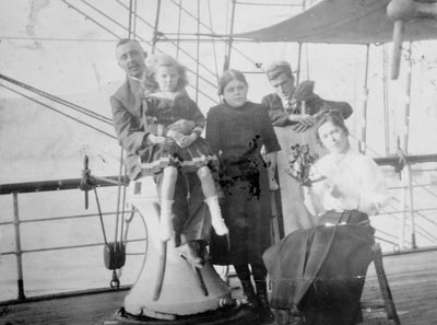 Group portrait including Mr Hill of the Seamen's Institution on deck, at Iquique, Chile by unknown - print