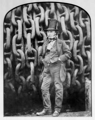 Isambard Kingdom Brunel at Millwall during the building of the 'Great Eastern' by Robert Howlett - print