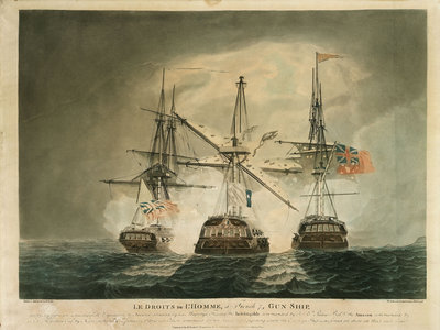 'Le Droits de L'Homme', a French 74 gun ship, ... attacked by his Majesty's frigates the 'Indefatigable' & the 'Amazon' on the 13th & 14th January 1797 by Robert Dodd - print