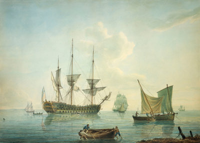 A third-rate, a frigate, a fishing lugger and other craft off shore in a calm by Nicholas Pocock - print