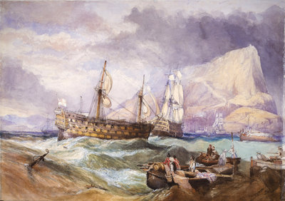 HMS 'Victory' towed into Gibraltar by Clarkson Stanfield - print