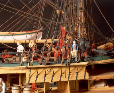 'Endeavour', detail, foremast starboard shrouds and anchors by Robert A. Lightley - print