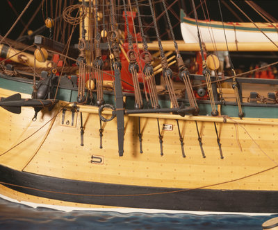 'Endeavour', detail, port foremast shrouds and anchors by Robert A. Lightley - print