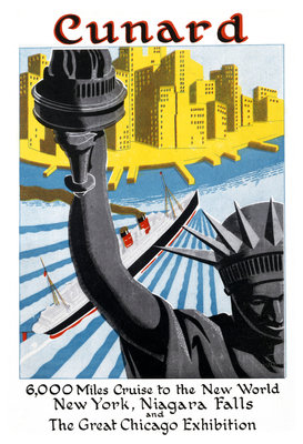 Cunard Cruise Line Poster, New York by unknown - print