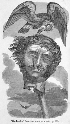 Severed head of the South American pirate Vincent Benevides by unknown - print