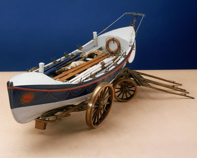 Full hull model, self-righting lifeboat with launching carriage by unknown - print