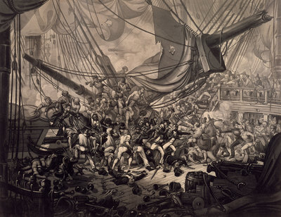 Horatio Nelson boarding the 'San Nicolas' at the Battle of Cape St Vincent, 1797 by W.M. Thomas - print