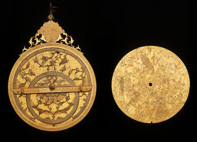 Astrolabe: obverse, with celestial map by Muhammad Mahdi al-Yazdi - print