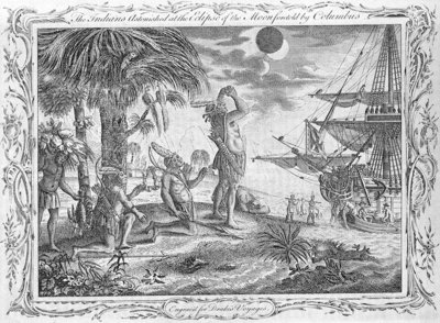 Christopher Columbus's voyage. The Indians astonished at the Eclipse of the Moon foretold by Columbus. Engraved for Drake's Voyages. by unknown - print