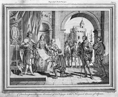 Columbus presenting an account of his voyage to the King and Queen of Spain. Engraved for Drake's Voyages. by Samuel Wale - print