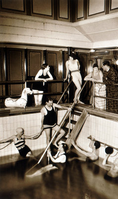 Passengers on aboard an unidentified cruise liner relax around the swimming pool in the very latest fashions by unknown - print