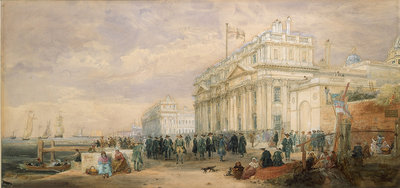 Greenwich Hospital, showing buildings and Greenwich pensioners by James Holland - print