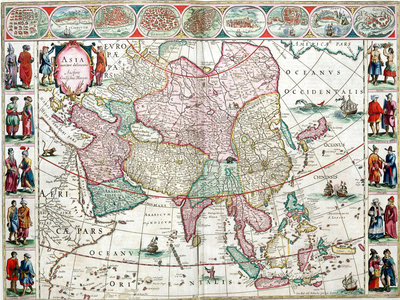 Map of Asia from the Bleau Atlas, 1662-65 by unknown - print